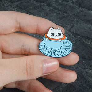 FUNNY Enamel CATPUCCINO Pin For Baristas! - TheRightBuy4Women.com