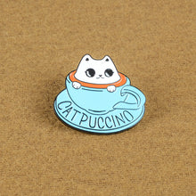 Load image into Gallery viewer, FUNNY Enamel CATPUCCINO Pin For Baristas! - TheRightBuy4Women.com