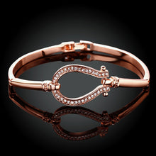 Load image into Gallery viewer, Grand-Daughters Rose Gold Plated Horseshoe Bangle - TheRightBuy4Women.com