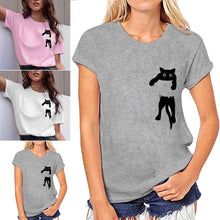 Load image into Gallery viewer, Funny Hanging Cat T-shirt