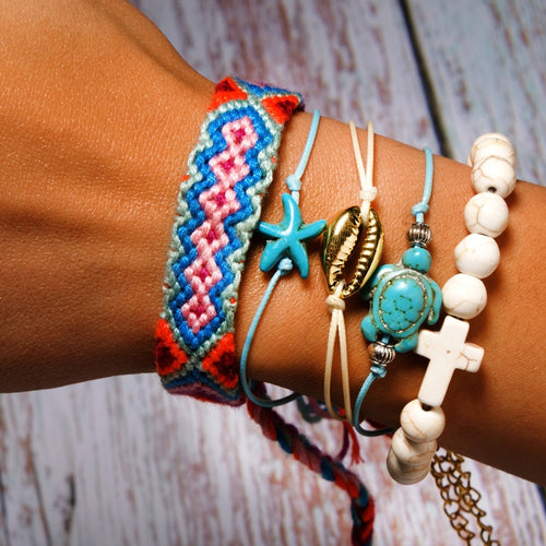 MOON GIRL 5 Pieces Shell Bracelet Set With Turtle Starfish Cross Beads Boho Weave Bracelet - TheRightBuy4Women.com