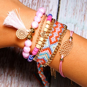 MOON GIRL SET of 6 Summer Handmade Bohemian Hawaiian Charm & Weave Bracelets - TheRightBuy4Women.com