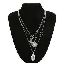 Load image into Gallery viewer, Multi Layer Chain Pendant Choker Necklace Virgin Mary - Portrait - Coin 3 in 1 - TheRightBuy4Women.com