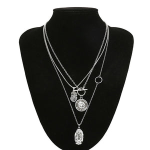 Multi Layer Chain Pendant Choker Necklace Virgin Mary - Portrait - Coin 3 in 1 - TheRightBuy4Women.com
