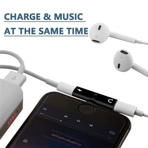 Two-in-One Dual Ports Headphone and Charging Adapter for IPhones - TheRightBuy4Women.com