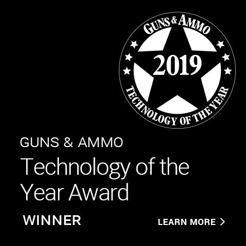Man with Hearing Device. 2019 Guns & Ammo award logo.