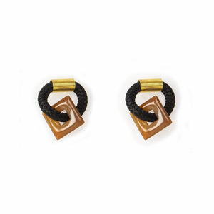 Agate Square Earrings (2 x Gold Hoops Incl.)