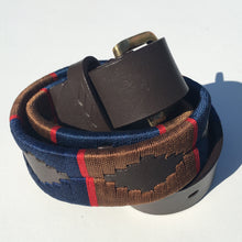 Load image into Gallery viewer, Polo Belt - Brown and Navy | Tom Clinch