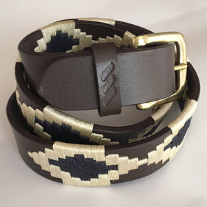 Polo Belt - Cream and Navy | Tom Clinch