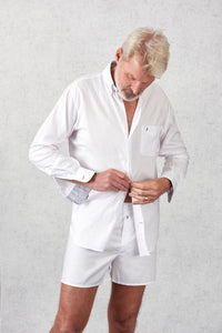 Tom Clinch | White Oxford Shirt | White Boxer Shorts | Home of the 10 year boxer shorts guarantee