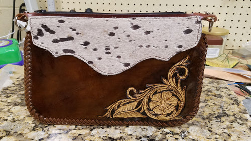 Acid-Washed Cowhide Wristlet