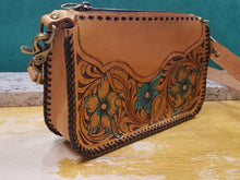 Load image into Gallery viewer, Purse with turquoise flowers and leather braiding