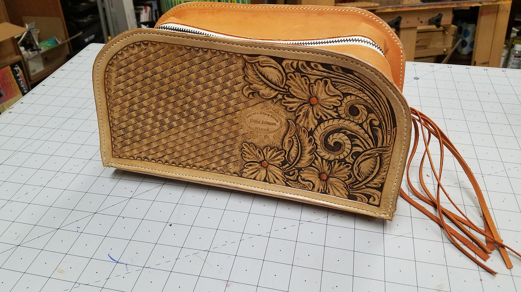 Hand Tooled Leather Travel Bag