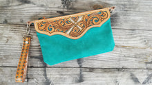 Load image into Gallery viewer, Leather and turquoise suede wristlet