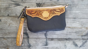 Hand tooled leather wristlet  - brown