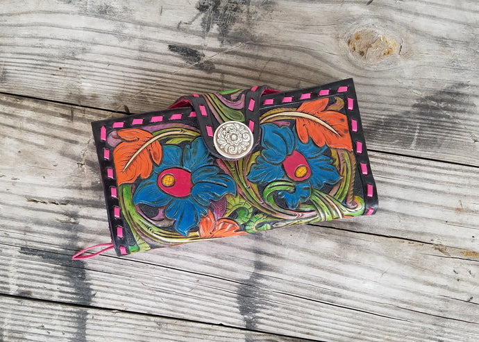 Colorful hand tooled leather clutch wallet