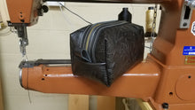 Load image into Gallery viewer, Black Embossed Leather Dopp Kit