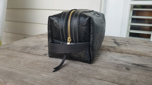 Black Embossed Leather Dopp Kit