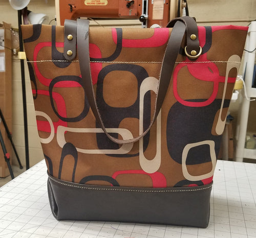 Market Tote with Brown Leather