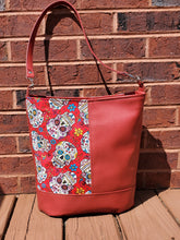 Load image into Gallery viewer, Sugar Skull and Red Vinyl Bag