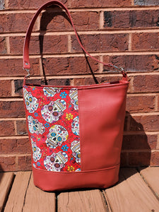 Sugar Skull and Red Vinyl Bag