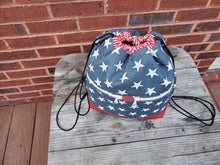 Load image into Gallery viewer, Begonia Drawstring Backpack- Patriotic