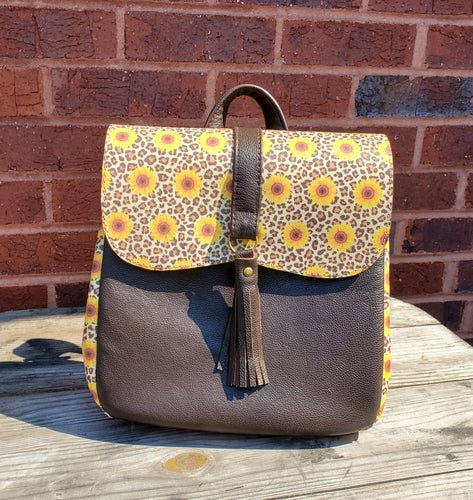 Backpack - Leather with Sunflowers