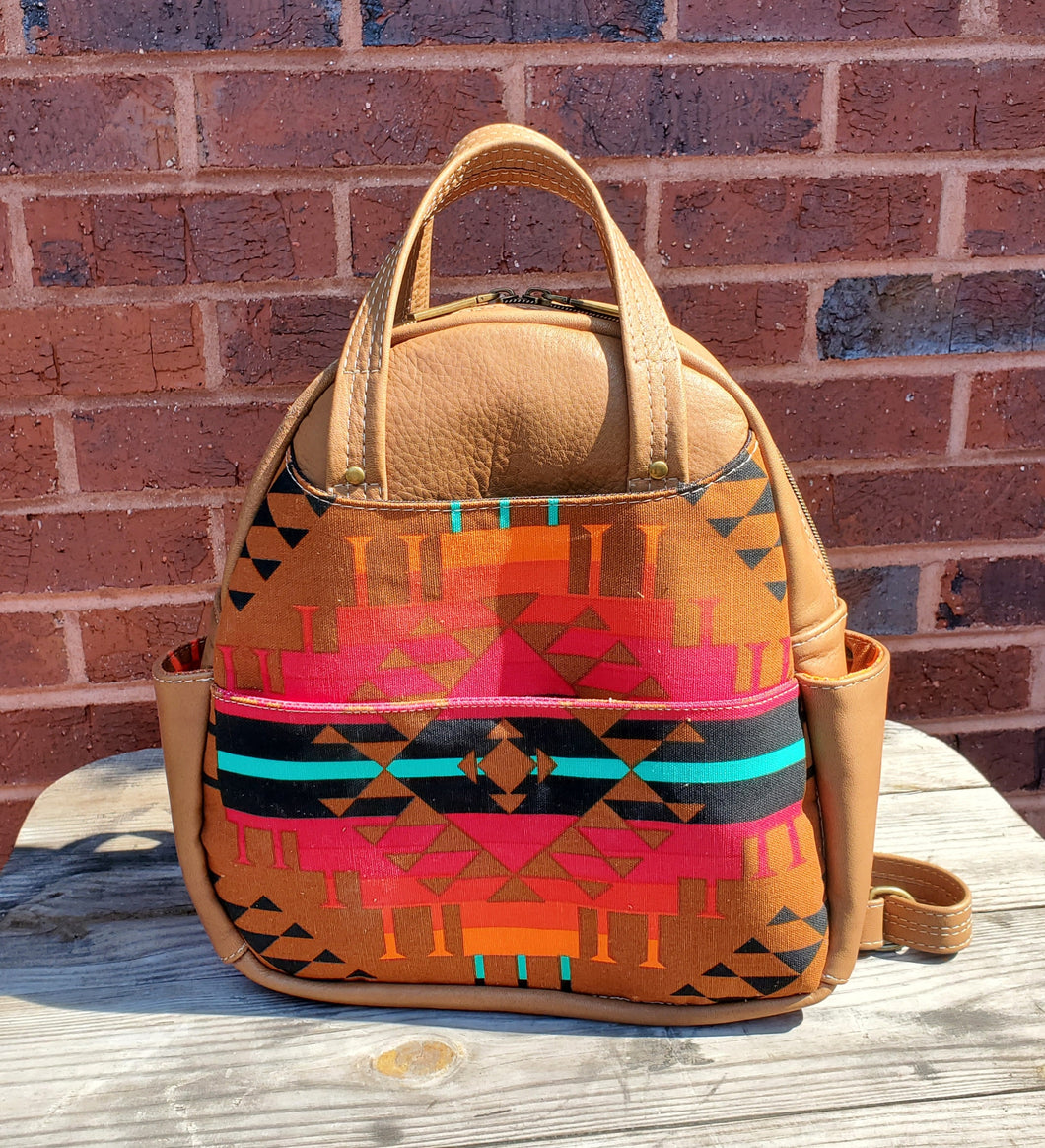 Backpack - Leather with Navajo Theme