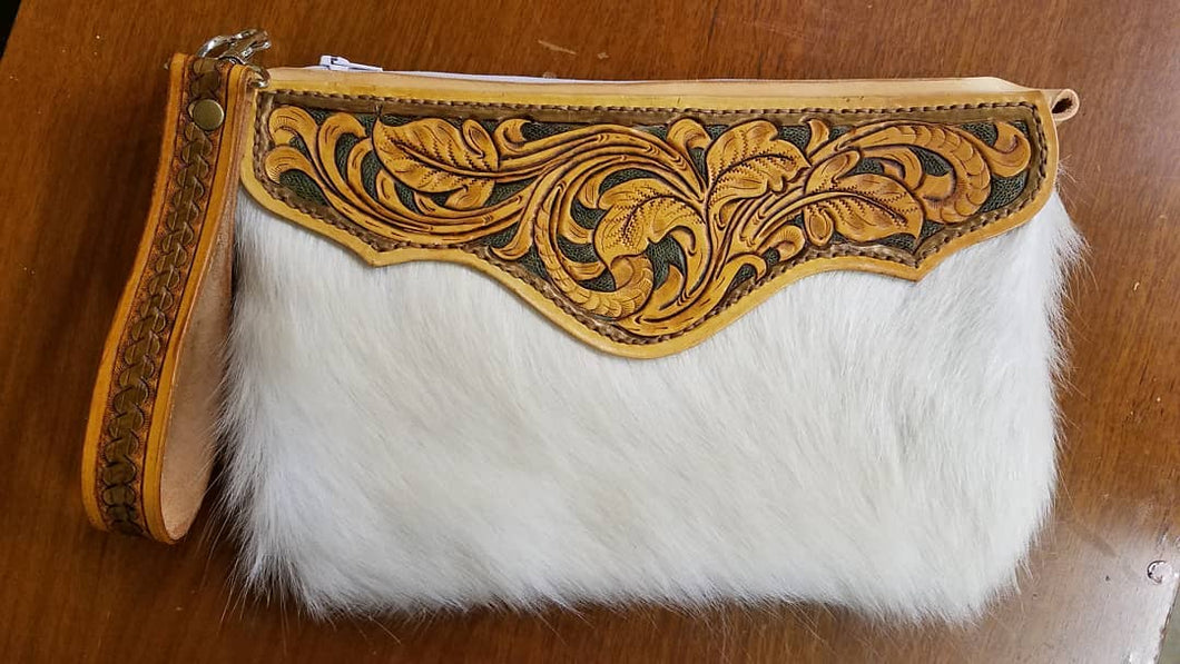 White Hair-on Cowhide with Leather tooling