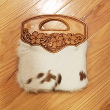 Load image into Gallery viewer, Hair-on Cowhide Bag with Leather Tooling