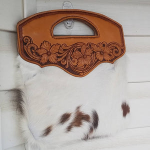 Hair-on Cowhide Bag with Leather Tooling