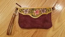 Load image into Gallery viewer, Violet Suede Floral Wristlet