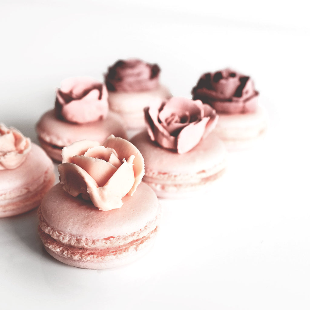 Rose Macarons with Buttercream flower toppers
