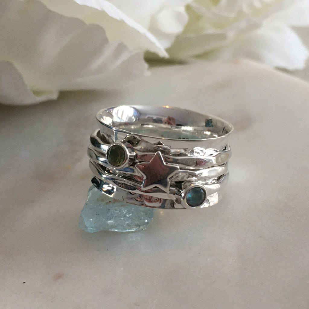 Sterling Silver Star and Gemstone Spinner Ring | Handmade silver spinner rings