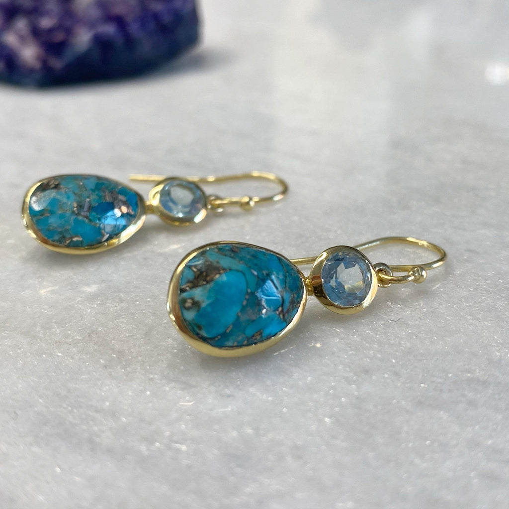 14K Gold Vermeil Copper Turquoise And Topaz Earrings