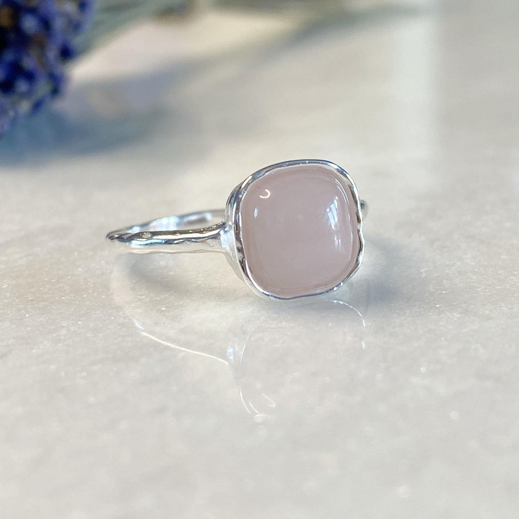 Squared Silver Rose Quartz Ring | Earth and Elements Jewellery