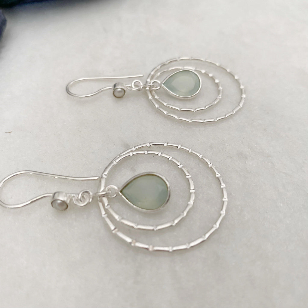 Sterling Silver Dangle Hoops Earrings with Aqua Chalcedony
