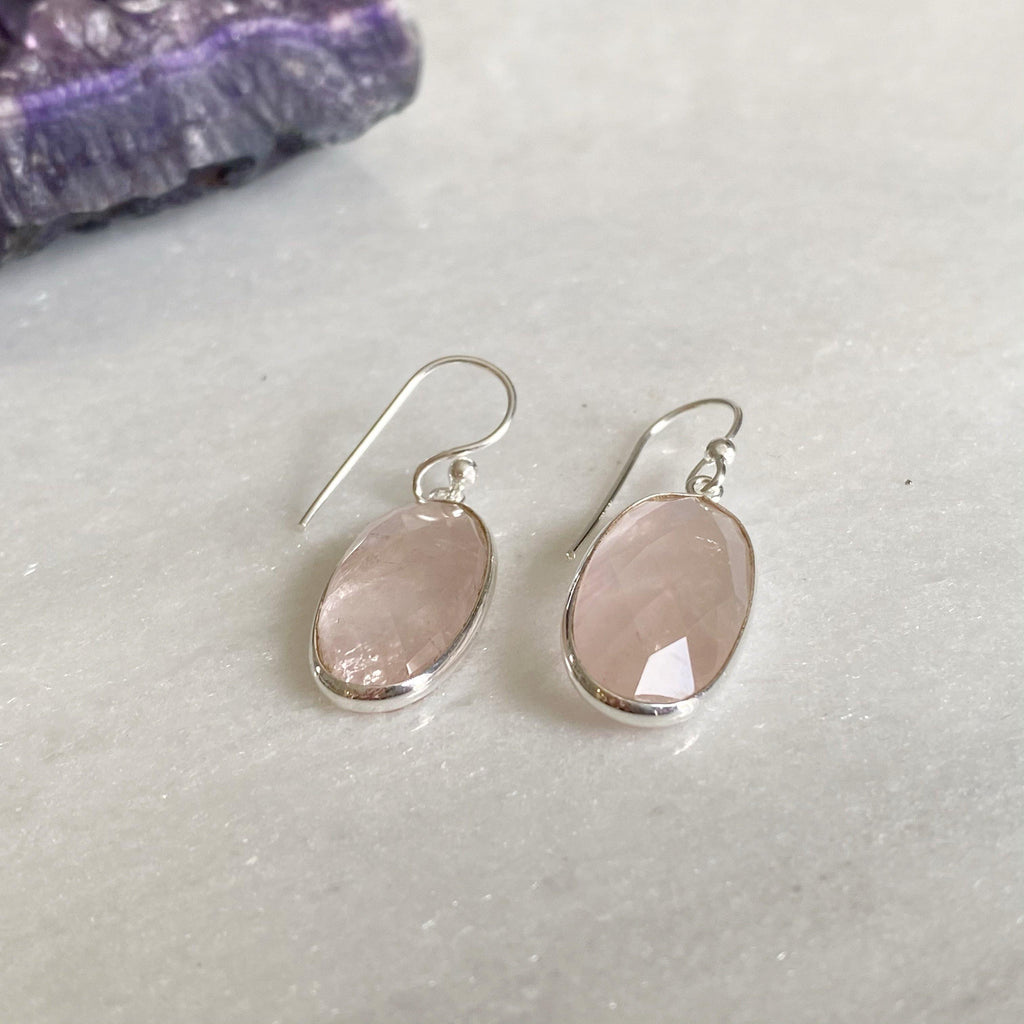 Classic Rose Quartz Drop Earrings | Sterling Silver Rose Quartz Earrings