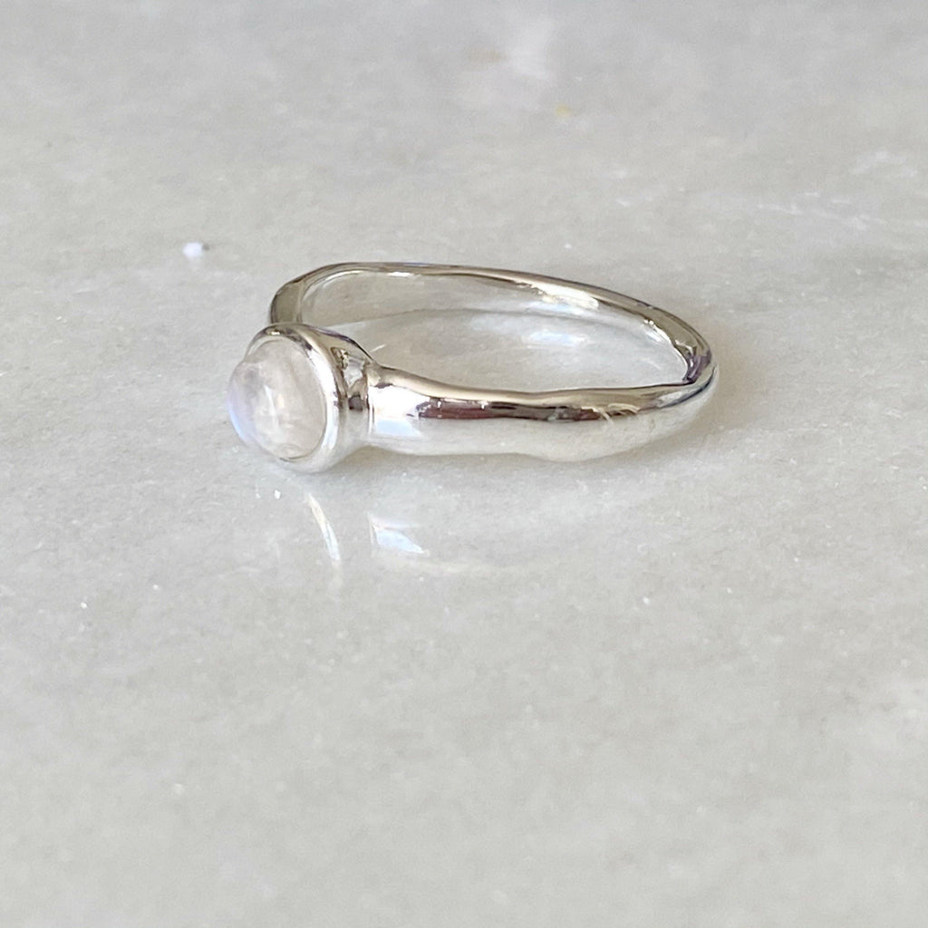 Organic Silver Moonstone Ring | Dainty Moonstone Stacking Rings