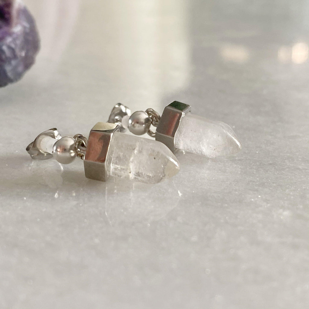 Crystal Quartz Point Silver Earrings -NEW