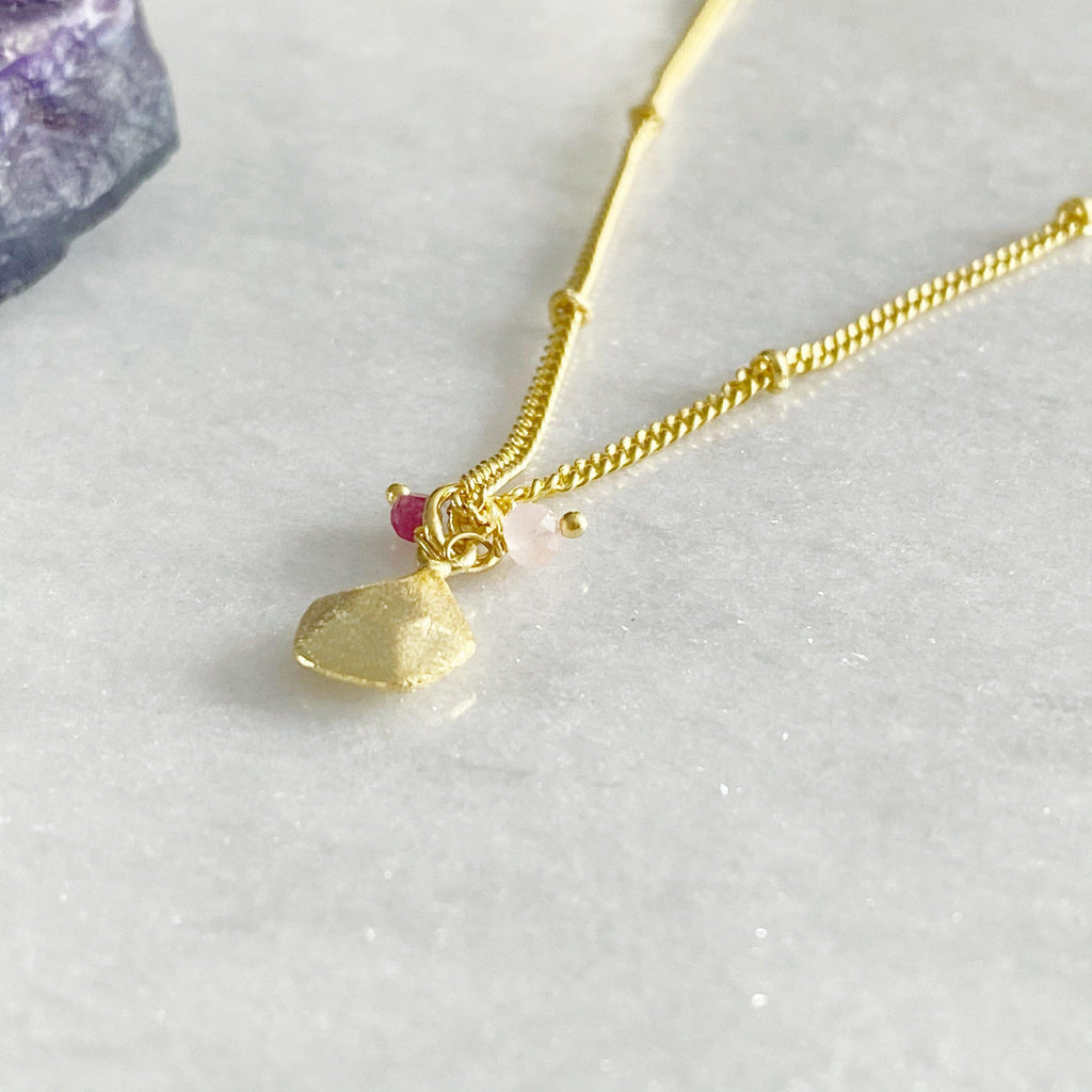 Alaya Gold Charm Necklace, Garnet and Rose Quartz