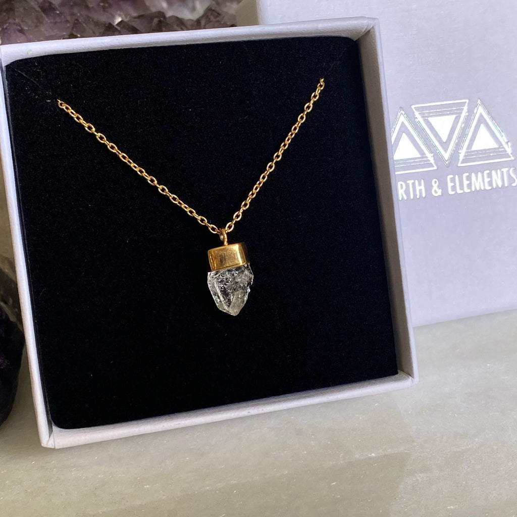 Herkimer Diamond Gold Necklace | Salt and Pepper Diamond Necklace