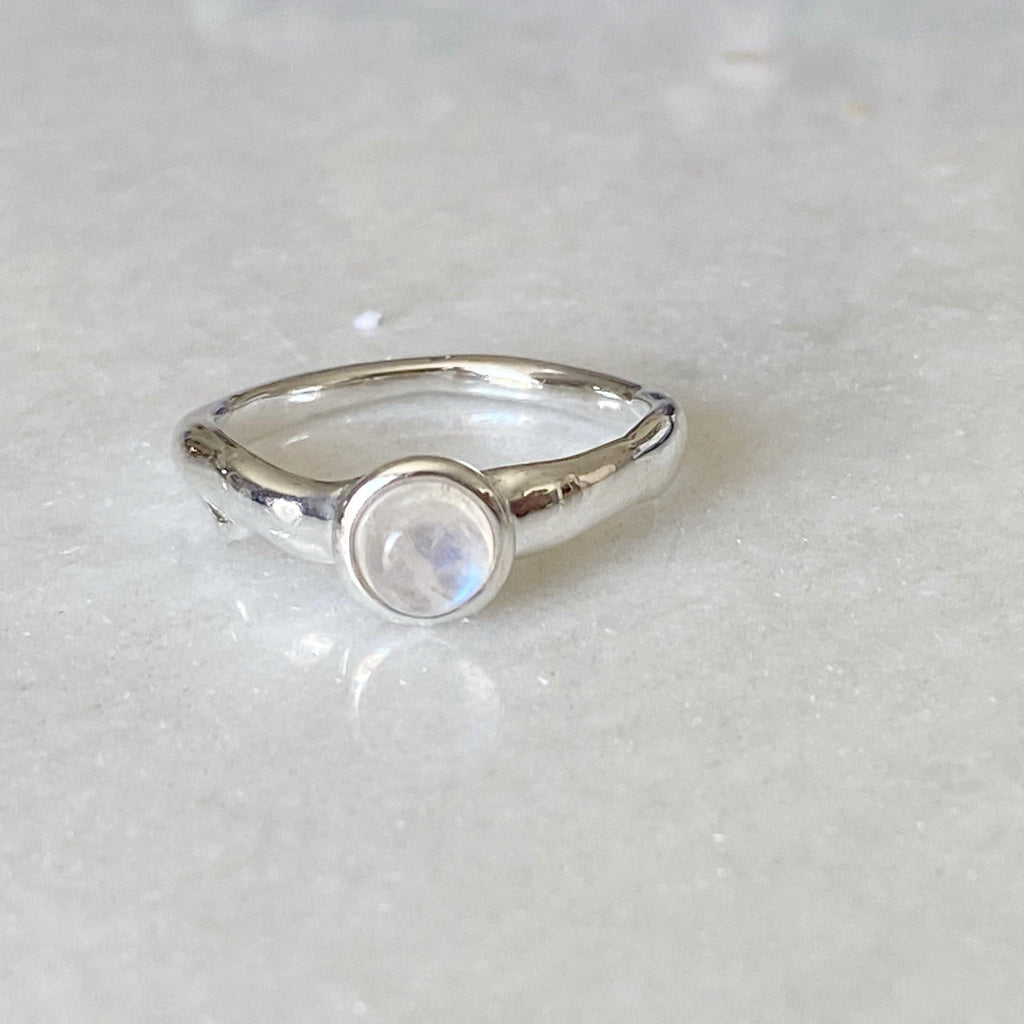 Organic Silver Moonstone Ring -NEW