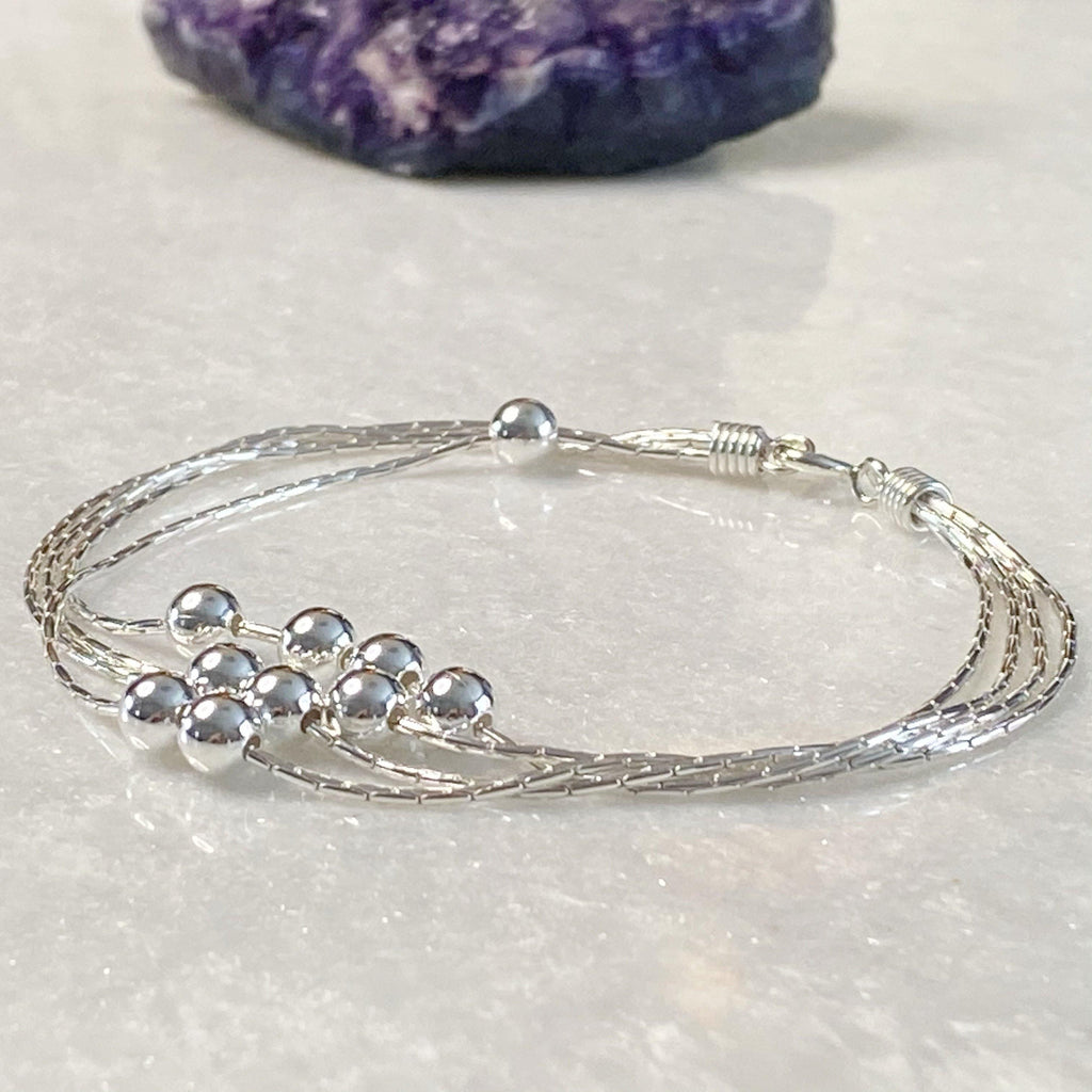 Layered Silver Ball Bracelet