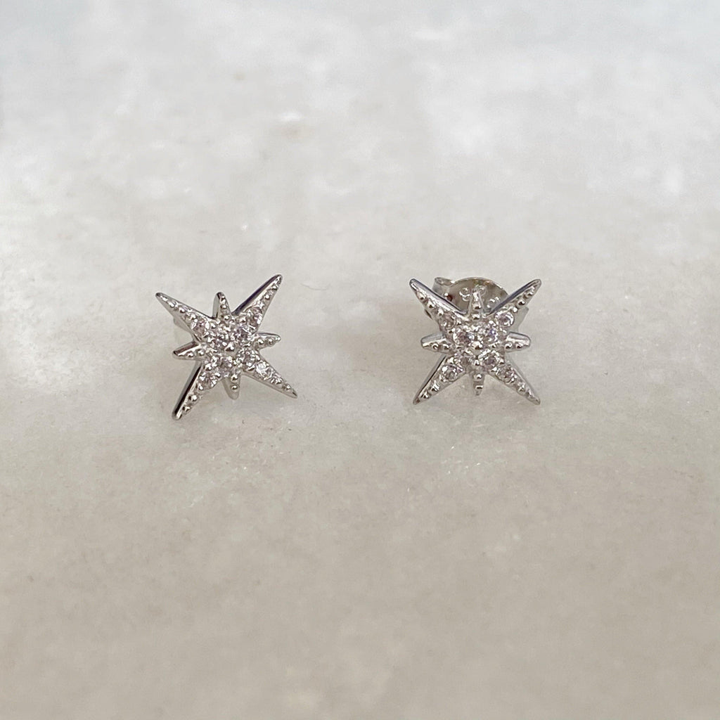Silver Star Earrings | North Star Stud Earrings | Earth & Elements Jewellery
