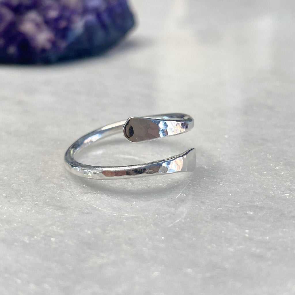 Ajustable Thumb Ring - Open Crossover Sterling Silver Thumb Ring