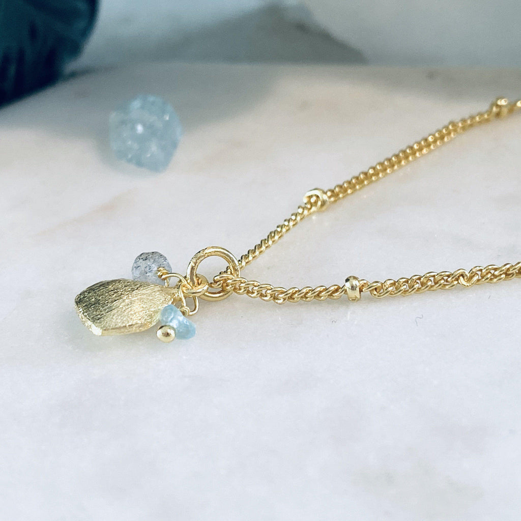 Alaya Gold Charm Necklace, Chalcedony