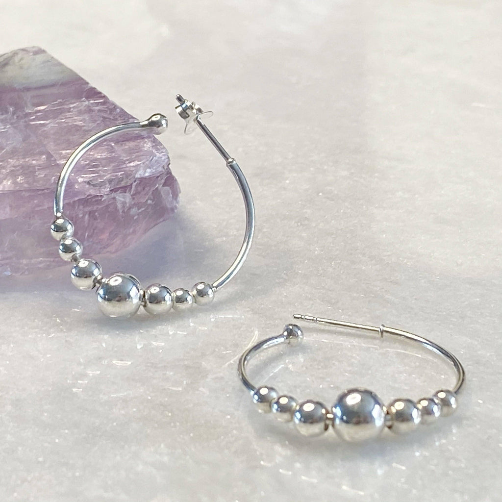 Boho Ball Hoop Silver Earrings