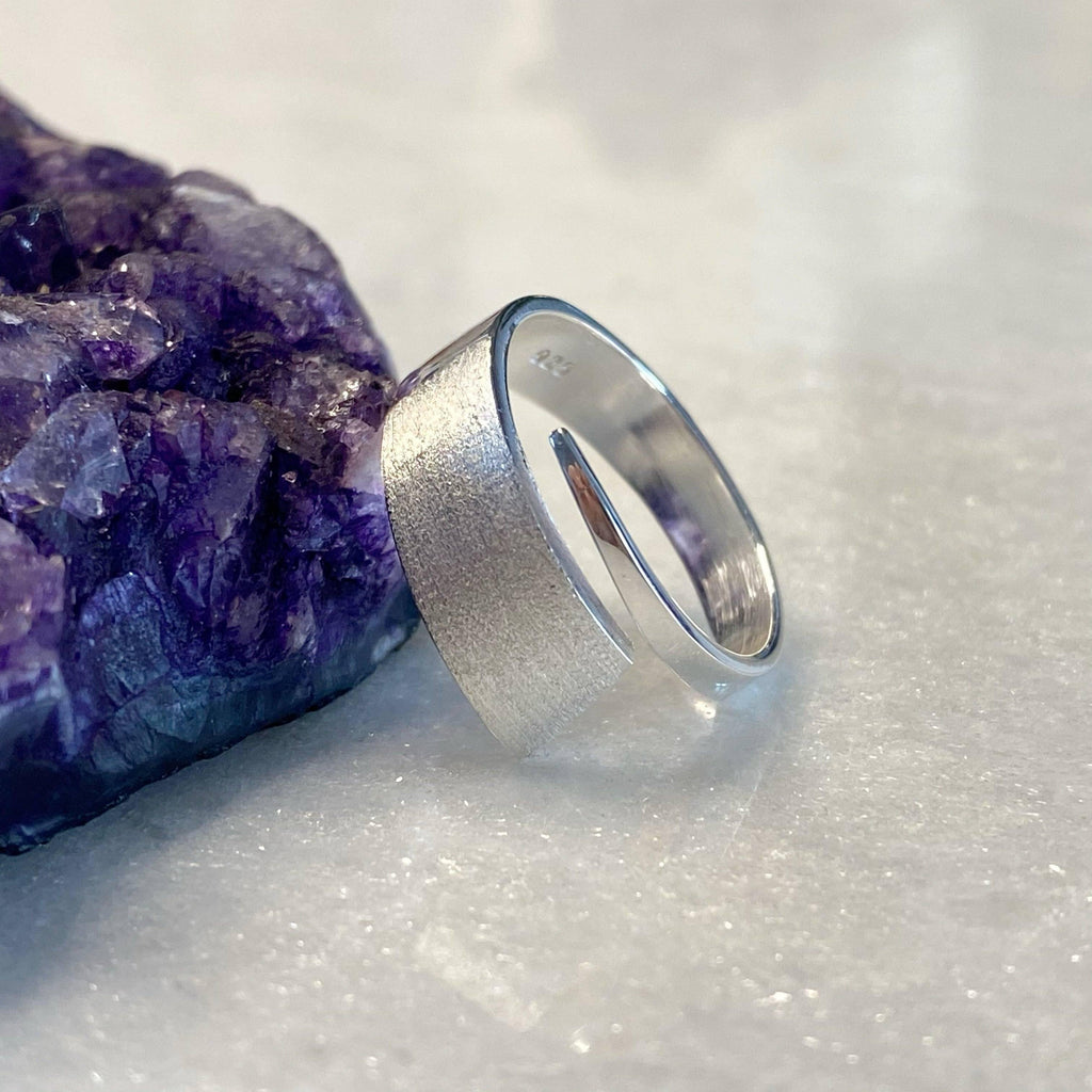 Brushed Silver Adjustable Geometric Ring