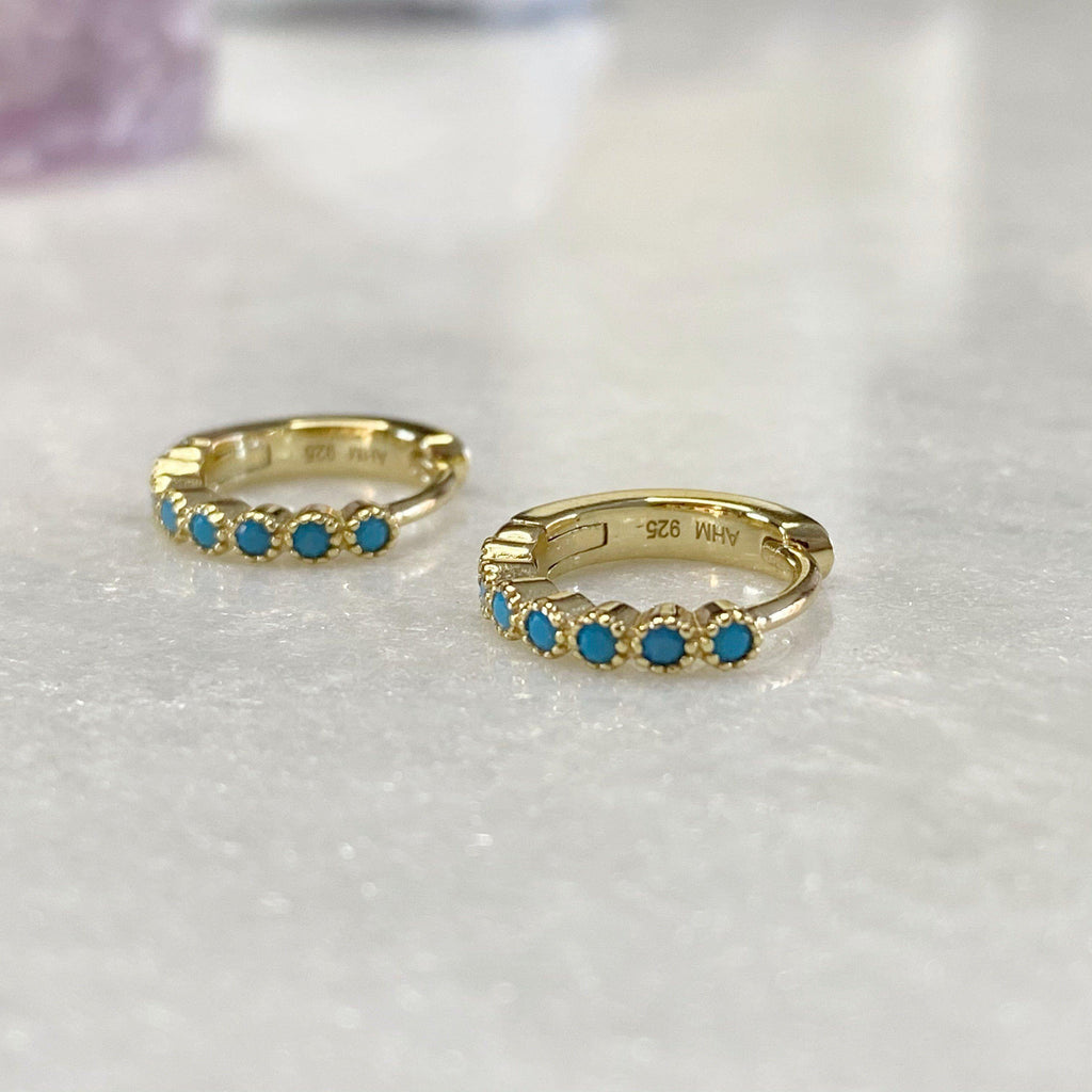 Gold Huggie Hoop Earrings With Turquoise Stones